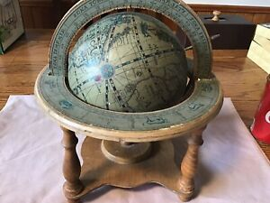 Astrology Old World Globe With Stand Vintage Wood Table Top Zodiac Vintage