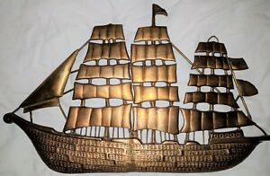 Vintage Brass Boat Ship Shaped Wall Hanging Plaque Wall Decoration