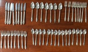 1847 Rogers Bros Silverware First Love Silverplate 46 Pieces Vintage