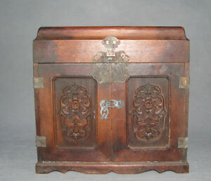 China Old Cao Huali Wood Carved 5 Drawer 2 Door Dragon Lucky Bat Wooden Chest