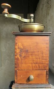 Antique Brass Finger Jointed Wood 12 Tall Hand Crank Coffee Bean Grinder