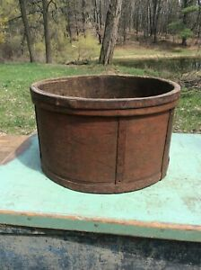 Large Antique Thick Walled Grain Measure Orig Red Paint Iron Bands