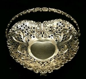 C1897 Repousse Gorham Sterling Silver Pierced Heart Basket Swing Handle