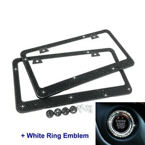 2 X Bling Black Crystal Metal License Plate Frame 4 Screw Cap White Ring Emblem