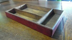 Vintage Primitive Divided Wood Tray Box Lap Joint Old Red Paint 13 1 2 X 8 1 2
