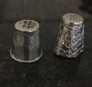 Lot Of 2 Antique Vintage Sterling Silver Thimbles
