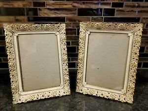 Vintage Filagree Metal Ornate Picture Frames Brass White Wash Hollywood Deco 5x7