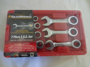 Gear Wrench 7 Pc Stubby Sae Ratcheting Wrench Set 9507
