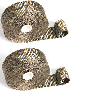 2 Rolls Titanium Header Manifold Exhaust Heat Wrap Tape 6 Zips 1 X 33ft