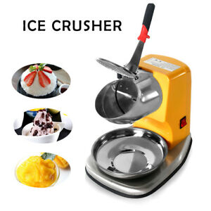 Commercial Snow Cones Crusher Machine Slush Maker Ice Shaver Stainless Steel