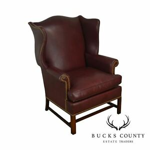 Hickory Chair Co Vintage Chippendale Style Oxblood Red Leather Wing Chair