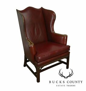Kittinger Vintage Chippendale Style Oxblood Red Leather Mahogany Wing Chair