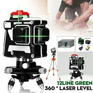 Automatic Self leveling Laser Level 12 Lines 360 Degree Rotation Receiver Rod