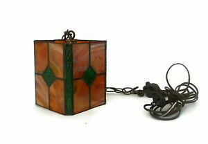 Stained Glass Lamp Handmade Hanging Light 1930 S Green And Orange Textured Glass