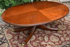 1960s Vintage Regency Style Mahogany Oval Shaped Coffee Table Center Table
