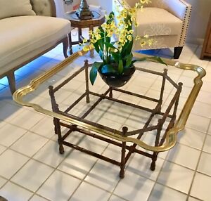 Vintage Italian Solid Brass Scalloped Top Coffee Table On Wood Bamboo Tray