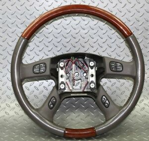 03 06 Escalade Gray Leather Steering Wheel Woodgrain Cruise Radio Control Button