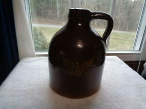 Antique 1800s Stoneware Brown Jug Primitive Pottery Beehive Moonshine Whiskey 8