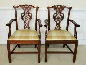 Two Baker Dining Chairs Chippendale Mahogany Excellent