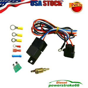 Electric Radiator Engine Fan Thermostat Temperature Switch Relay Kit U S Ship