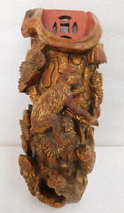Antique Chinese Monkey Carved Lacquer Wall Hanging Brush Pot Sconce Pocket Vase