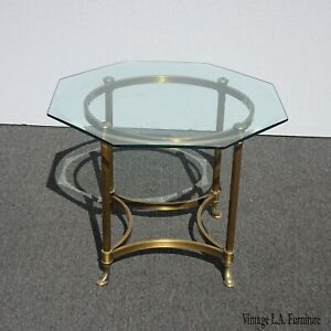Vintage French Provincial Hoof Feet End Table W Hexagon Glass Top