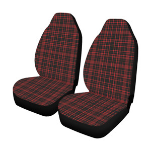 Front Car Seat Covers Tartan Red Fabric Protector Cases For Sedan Truck Suv Van