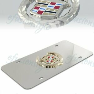 Authentic Cadillac Wreath Logo Front Mirror Stainless Steel License Plate Frame
