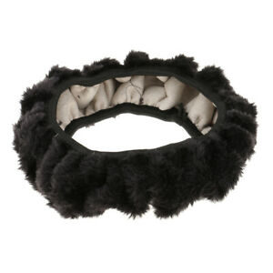 Universal Soft Plush Fuzzy Auto Car Steering Wheel Cover For Winter Black