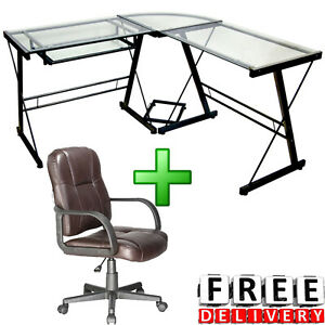 Computer Desk With Massage Chair Writing Wood Drawer Home Office Workstation