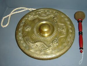Antique Chinese Bronze Gong Striker Pair Of Dragons Chasing The Flaming Pearl