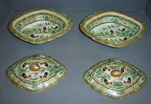 Antique Chinese Pair Rose Medallion Porcelain Covered Soup Tureen Rooster Design