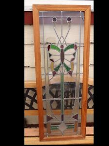Vintage Framed Butterfly Stained Glass Panel C1920 S