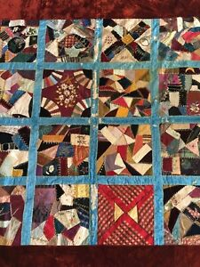 Antique 1800 S Victorian Crazy Quilt Velvet Satin Patchwork Embroidered