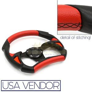 For Buick 3 Spoke Red Black Leather F1 Sports Car 6 Bolt Track Steering Wheel