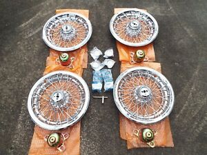 4 New Oem 1987 1995 Chevy Caprice 15 Inch Wire Hubcaps With Oem Hardware