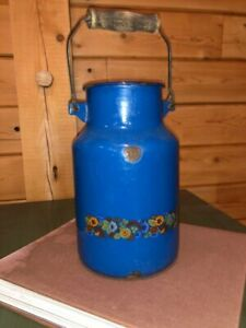 Antique Milk Cream Can Enameled Blue Farmhouse Country Primitive Jug Stamped 2l