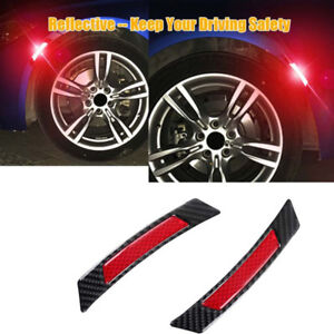 2pc Car Carbon Fiber Red Power Reflective Wheel Eyebrow Edge Protection Stickers