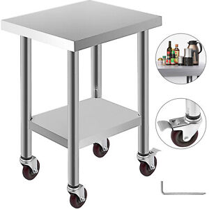 24 x18 Kitchen Work Table 4 Wheels Stainless Steel Work Station Janitorial Room
