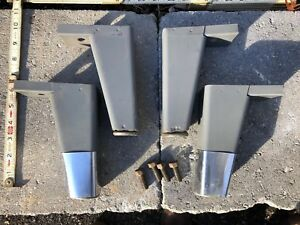 Set Of 4 Vintage Industrial Steel Tanker Desk Feet Legs W Bolts 6 5 W Levelers