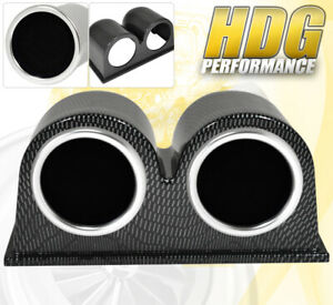Universal Carbon Fiber Dual Pod Cup 52mm Water Temperature Exhaust Gauge Tint