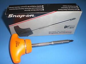 Snap On T Handle Ratcheting Magnetic Screwdriver Orange Ssdmrt4 W Acr Bit Box