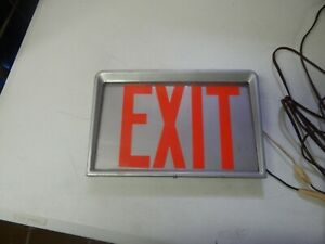 Vintage Metal And Glass Exit Sign Boxed Lighted Industrial