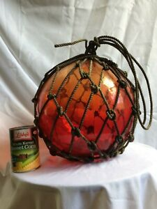Vintage Red 39 Circum Japanese Xl Glass Fishing Float Buoy Ball Roped Net