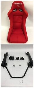 Bride Vios Iii 3 Low Max Red Cloth Pair Bucket Racing Seats For 92 95 Civic Eg