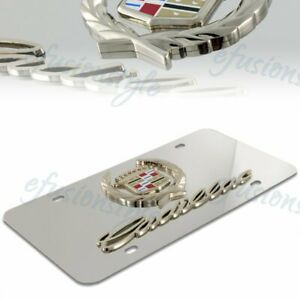 Authentic 3d Cadillac Logo Front Mirror Stainless Steel License Plate Frame