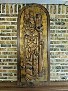 Vintage Witco Relief Wood Carved 3 Monk Wall Art Tiki Mid Century Modern