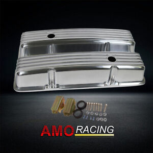 Retro Finned Polished Aluminum Tall Valve Covers Fit 58 86 Sbc Chevy 350 327 400