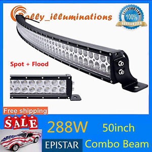 50inch 250w 4d Slim Led Light Bar Spot Boat Single Row Gmc Suv 288w 300w
