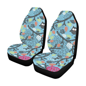 Front Car Seat Covers Owls Floral Fabric Protector Cases For Sedan Truck Suv Van